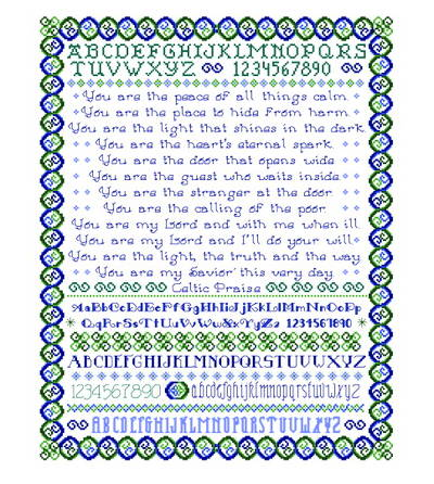 cross stitch pattern Celtic Praise Sampler