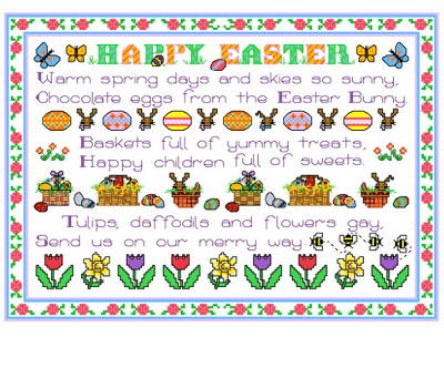 cross stitch pattern Easter Sampler