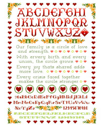 cross stitch pattern Our Family Circle