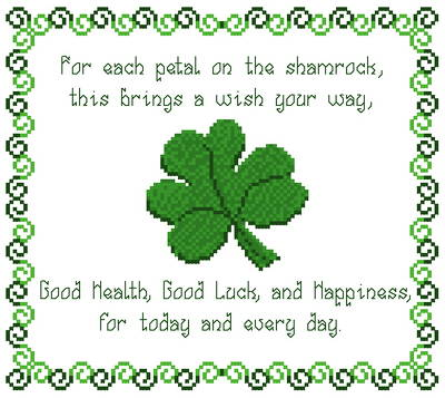 cross stitch pattern Shamrock Wishes