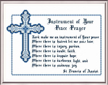 cross stitch pattern Peace Prayer