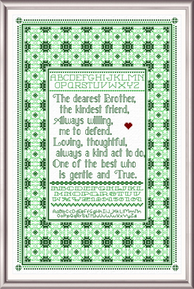 cross stitch pattern Dearest Brother Sampler