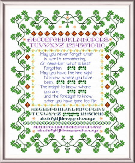 cross stitch pattern Shamrock Wisdom Sampler