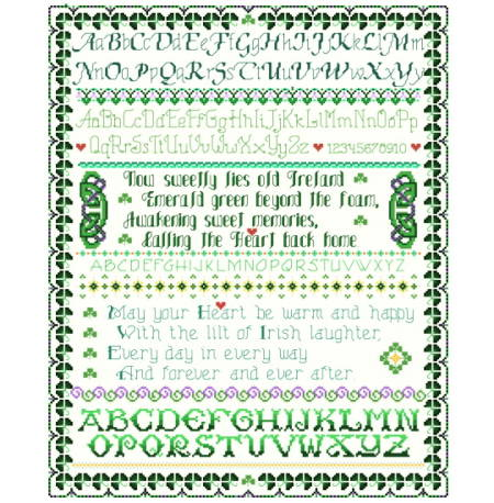 cross stitch pattern Old Ireland Sampler