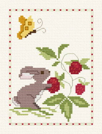 cross stitch pattern Berry Patch Bunny Towel