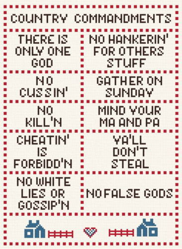 cross stitch pattern The Country Commandments