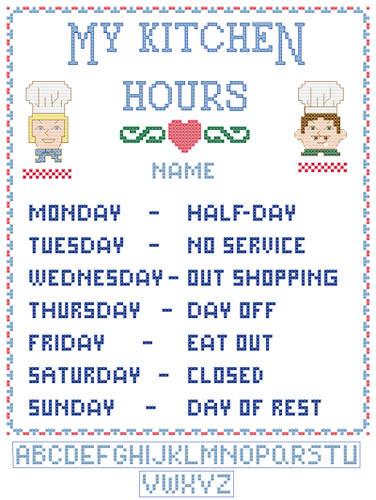 cross stitch pattern My Kitchen Hours