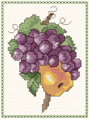 cross stitch pattern Pear and Grapes Towel