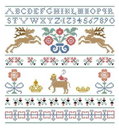 cross stitch pattern Stag Sampler