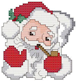 cross stitch pattern Santa Christmas Ornament
