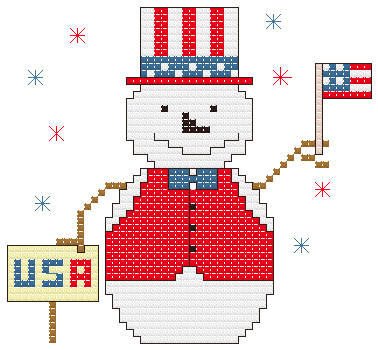 cross stitch pattern Patriotic Snowman Ornament