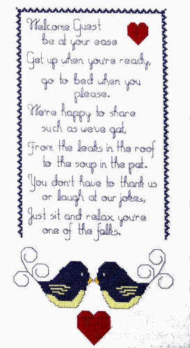 cross stitch pattern Welcome Guest