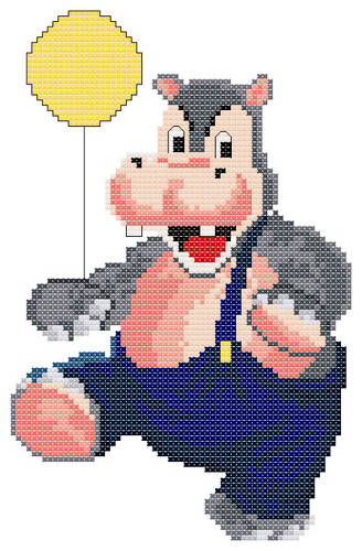 cross stitch pattern Happy Hippo
