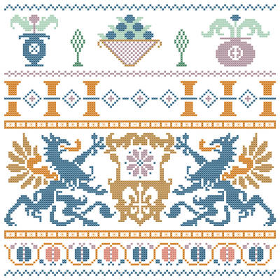 cross stitch pattern Stylized Dragon Sampler