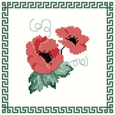 cross stitch pattern POPPIES