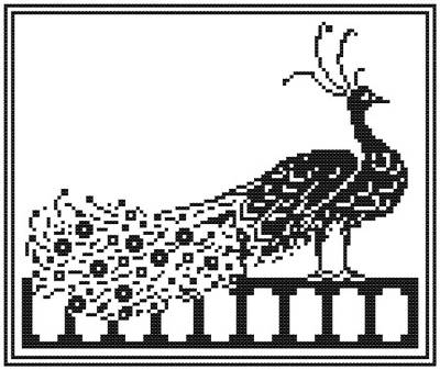 cross stitch pattern Peacock Silhouette