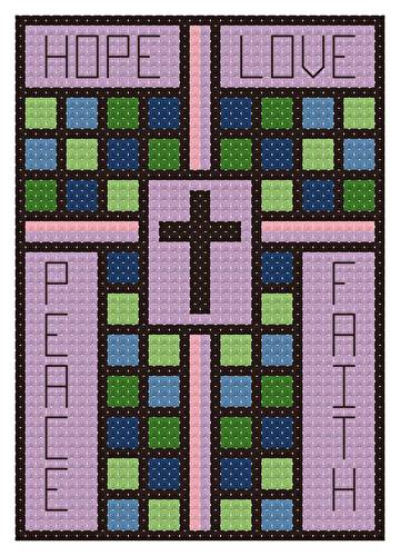 cross stitch pattern Stained Glass Ornament
