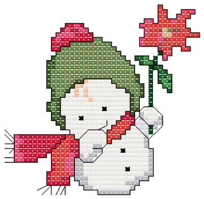 cross stitch pattern Snowbaby with Flower
