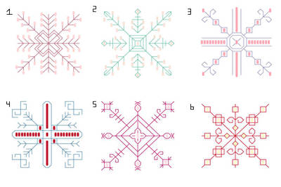 cross stitch pattern Beaded Snowflakes