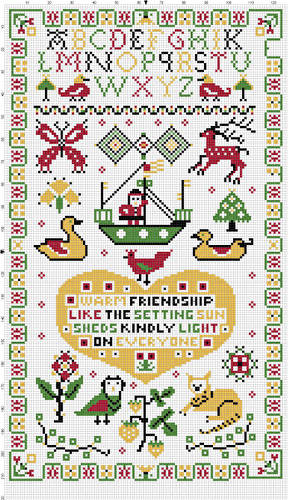 cross stitch pattern Friendship Sampler