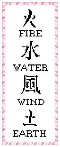 cross stitch pattern Fire, Water, Wind, Earth
