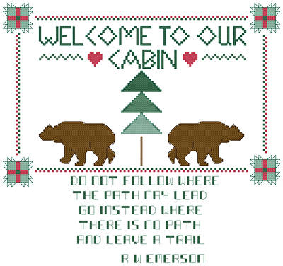 cross stitch pattern Northwoods Welcome