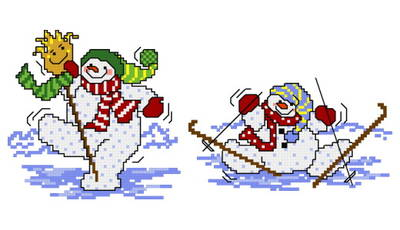 cross stitch pattern 2 Silly Snowmen