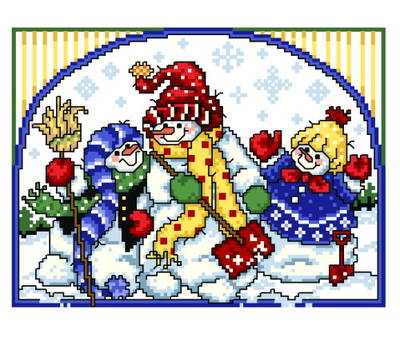 cross stitch pattern 3 Cheery Snowmen
