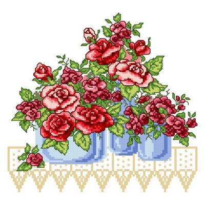 cross stitch pattern 3 Roses