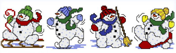 cross stitch pattern 4 Snowman Ornaments