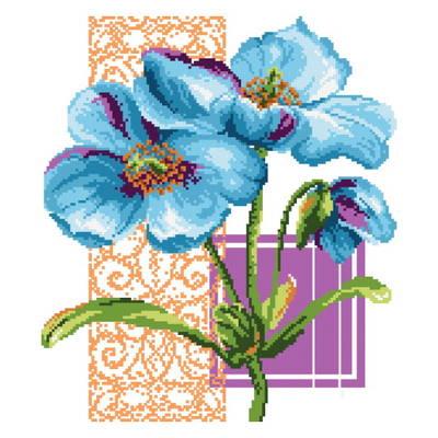 cross stitch pattern Big Florals Blue Poppies