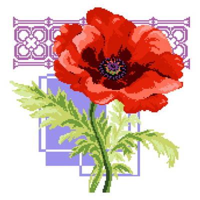 cross stitch pattern Big Florals Red Poppies
