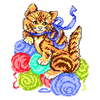 cross stitch pattern Butterscotch Kitten