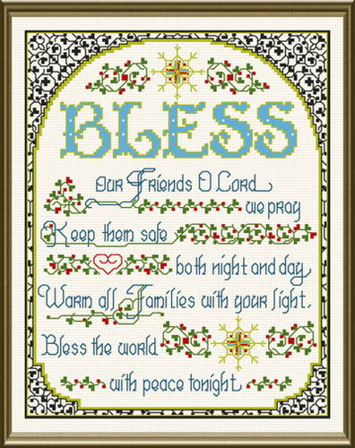 cross stitch pattern Bless the World with Peace