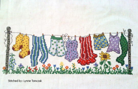 cross stitch pattern Dots Clothesline