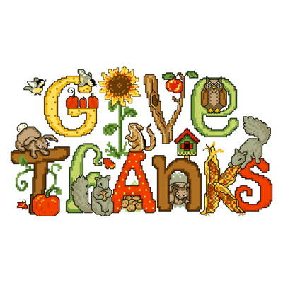 cross stitch pattern Give Thanks