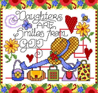 cross stitch pattern Girl Smiles