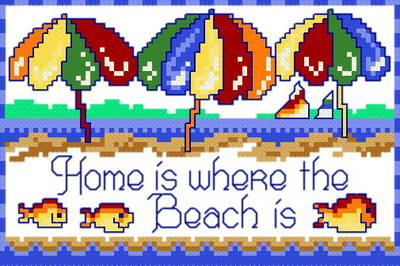 cross stitch pattern Home is where the Beach is