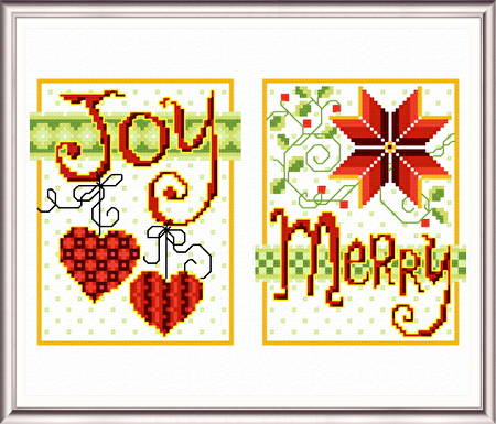 cross stitch pattern Joy Merry