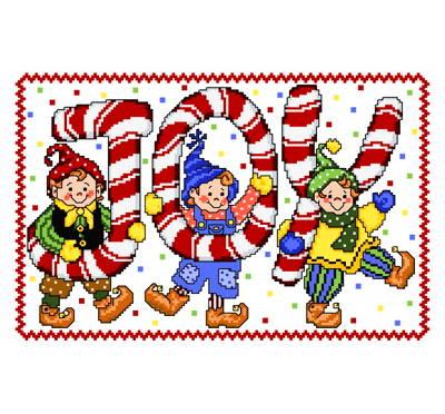 cross stitch pattern Joyous Elves