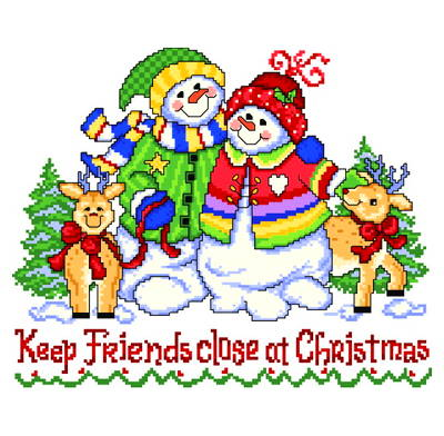 cross stitch pattern Keep Friends Close at Christmas