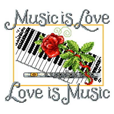 cross stitch pattern Music is Love