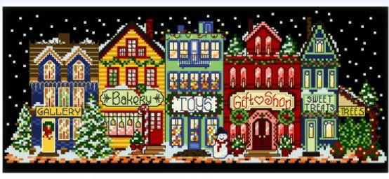 cross stitch pattern Main Street Holiday