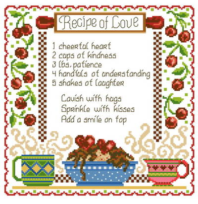 cross stitch pattern Recipe of Love