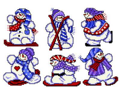 cross stitch pattern Six Sports Snowman Ornaments