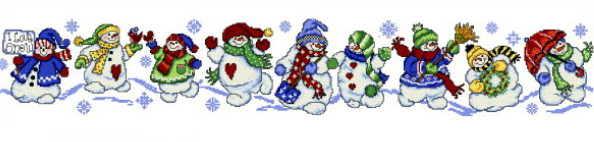 cross stitch pattern Snowman Row