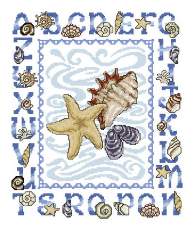 cross stitch pattern Seashell Alphabet
