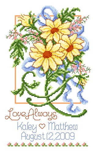 cross stitch pattern Summer Wedding