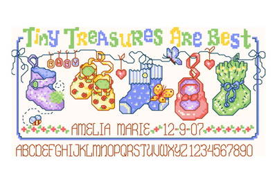 cross stitch pattern Tiny Treasures Birth Record