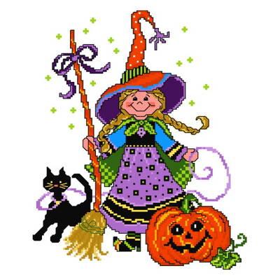 cross stitch pattern Witch Cutie